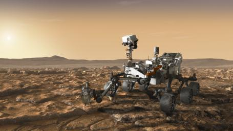 This artist's concept depicts NASA's Mars 2020 rover exploring Mars. Mars 2020 will use powerful instruments to investigate rocks on Mars down to the microscopic scale of variations in texture and composition.