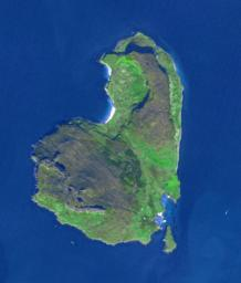 The island of Eigg is one of the small isles in the Scottish Inner Hebrides, south of the Skye peninsula. This image from NASA's Terra spacecraft was acquired on September 18, 2015.
