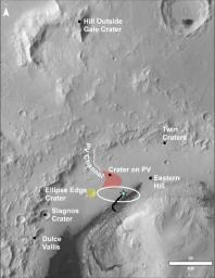 This image of the northwestern portion of Mars' Gale Crater and terrain north of it, from the ESA's Mars Express orbiter, provides a locator map for some features visible in an October 2017 panorama from NASA's Curiosity Mars rover.