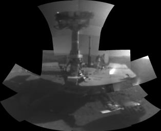 This self-portrait of NASA's Opportunity Mars rover shows the vehicle at a site called 'Perseverance Valley' on the slopes of Endeavour Crater. It was taken with the rover's Microscopic Imager to celebrate the 5000th Martian Day, or sol.