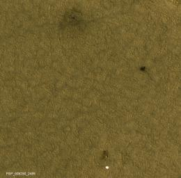 This image shows the location of NASA's Mars Phoenix Lander and related hardware around the mission's May 25, 2008, landing site on far-northern Mars as seen by NASA's Mars Reconnaissance Orbiter.