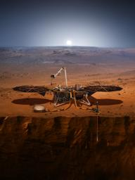 This image is an artist's impression of NASA's InSight lander on Mars. InSight will look for tectonic activity and meteorite impacts.