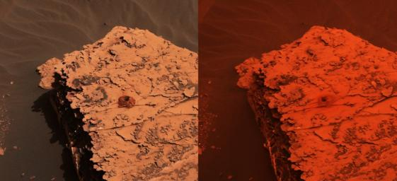Two images from the Mast Camera onboard NASA's Curiosity rover depict the change in the color of light illuminating the Martian surface since a dust storm engulfed Gale Crater. At left shows the 'Duluth' drill site on May 21, 2018; at right from June 17.
