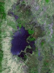 Loktak Lake is the largest freshwater lake in northeast India, and is famous for the floating 'phudmis,' masses of vegetation, soil and organic material. This image from NASA's Terra spacecraft was acquired March 19, 2018.