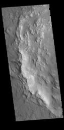 This image captured by NASA's 2001 Mars Odyssey spacecraft shows the western rim of Bamberg Crater. The complex nature of the rim is one indication of the relative youth of this crater in relation to it's surrounding.
