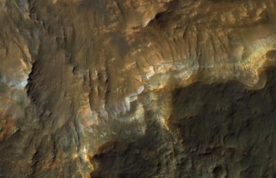 This color image from NASA's Mars Reconnaissance Orbiter (MRO) shows bedrock layers of diverse colors and composition.