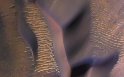 This image from NASA's Mars Reconnaissance Orbiter (MRO) shows some of these on the slopes of Nectaris Montes within Coprates Chasma on Mars. Sand dunes in Valles Marineris can be impressive in size, with steep slopes that seem to climb and descend.