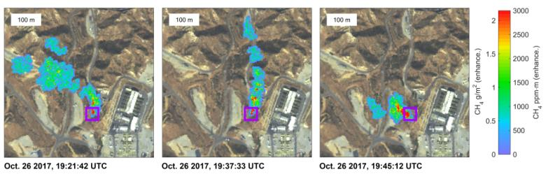 These three images show a time-series of methane plumes detected by NASA's AVIRIS-NG during multiple overflights of the Honor Rancho gas storage facility on Oct. 26, 2017.