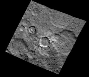 This image of Juling and Kupalo Craters was obtained by NASA's Dawn spacecraft on May 25, 2018 from an altitude of about 855 miles (1380 kilometers).