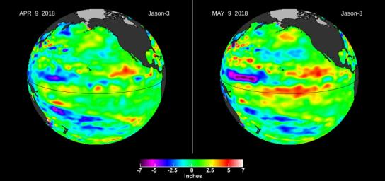 This image from the U.S./European Jason-3 satellite shows a comparison of sea surface height with respect to the seasonal cycle and the long-term trend between April 9 and May 9, 2018.