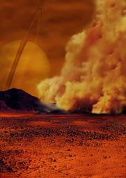 Artist's concept of a dust storm on Saturn's moon, Titan.