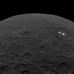 This image of Ceres and the bright regions in Occator Crater was one of the last views obtained by NASA's Dawn spacecraft on September 1, 2018 from an altitude of 2,340 miles (3,370 kilometers).