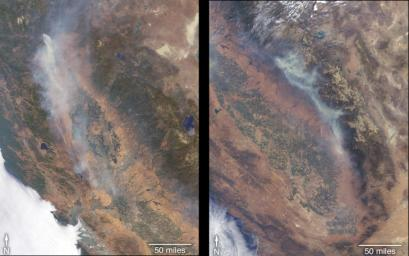 NASA's Terra satellite took these images of the Carr Fire (left) and the Ferguson Fire (right) on July 27 and July 29, respectively.