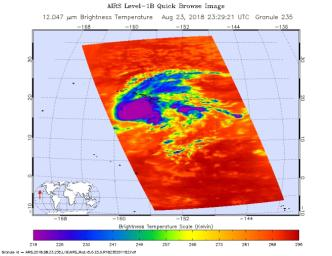 This image shows Hurricane Lane as observed by NASA's Aqua satellite Friday, August 24, 2018. Purple shows very cold clouds high in the atmosphere, blue and green show the warmer temperatures of lower;orange and red areas have almost no clouds.