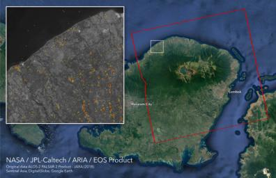 Scientists with NASA's ARIA used satellite data to produce a Damage Proxy Map (DPM) depicting areas in the northeastern part of Lombok Island, Indonesia, that are likely damaged as a result of the major earthquake sequence in 2018.