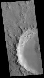 This image from NASA's Mars Odyssey shows part of a crater located north of Hecates Tholus. The radial grooves in the ejecta blanket are still visible around the crater rim.