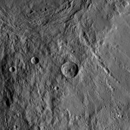 This image of the region between Urvara Crater's eastern rim and Yalode Crater's western rim was obtained by NASA's Dawn spacecraft on May 20, 2018 from an altitude of about 1070 miles (1720 kilometers).