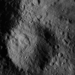 This image of a small crater north of Ceres' Datan Crater was obtained by NASA's Dawn spacecraft on June 9, 2018 from an altitude of about 48 miles (77 kilometers).