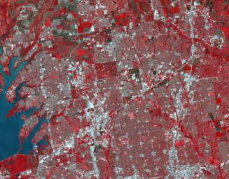 Frisco, Texas, a city along the Shawnee Trail in the Dallas-Fort Worth metroplex has become a bedroom community for workers in Dallas-Fort Worth. NASA's Terra spacecraft acquired this image on April 15, 2018.