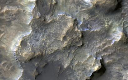 This colorful image acquired on May 21, 2018 by NASA's Mars Reconnaissance Orbiter shows clays within the Eridania basin region.