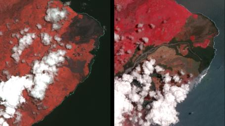NASA's Terra spacecraft obtained near-infrared data of the ongoing Kilauea volcano eruption and its impact on the Leilani Estates area on May 15, 2018 (left) and June 23, 2018 (right). New dark areas show where the ground has been covered with lava flows.