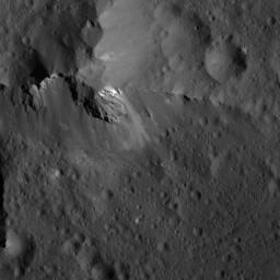 This image showing detail of Urvara Crater's central ridge on Ceres was obtained by NASA's Dawn spacecraft on July 6, 2018 from an altitude of about 72 miles (116 kilometers).