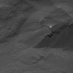 This image of a scarp in Occator Crater on Ceres was obtained by NASA's Dawn spacecraft on July 3, 2018 from an altitude of about 26 miles (42 kilometers).