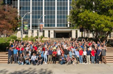 Morale was high as the Mars Helicopter team gathered for a group photo on Dec. 3, 2018, at NASA's Jet Propulsion Laboratory in Southern California.