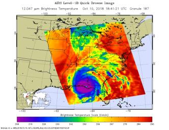 This image, taken on Oct. 10, 2018 by NASA's Aqua satellite shows the temperature of clouds or the surface in and around Hurricane Michael as the storm made landfall in the Florida panhandle.
