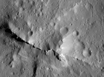 This close-up view of the central peak of the 99-mile-wide (160-kilometer-wide) Urvara impact crater on Ceres was captured by NASA's Dawn spacecraft on June 21, 2018 from an altitude of about 83 miles (134 kilometers).