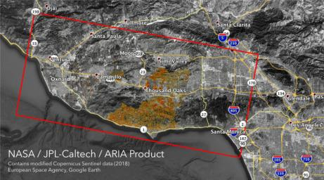 The ARIA team at NASA's Jet Propulsion Laboratory created these Damage Proxy Map (DPM) images depicting areas in Southern and Northern California that are likely damaged by the Woolsey and Camp Fires.