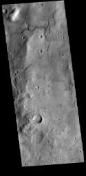 This image from NASA's Mars Odyssey shows a small channel system dissecting the rim of this unnamed crater in Terra Sirenum.