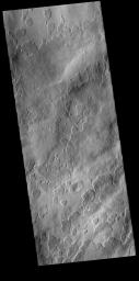 This image from NASA's Mars Odyssey shows Amphitrites Patera, an old volcanic complex located south of Hellas Planitia.