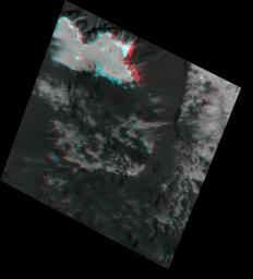 This stereo view, called an anaglyph, of Occator Crater's 'Mesa' on Ceres was obtained by NASA's Dawn spacecraft from an altitude of about 21 miles (34 kilometers).