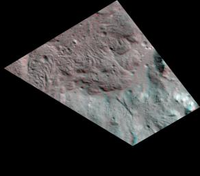 This stereo view, called an anaglyph, of lava flows on the floor of Occator Crater on Ceres was obtained by NASA's Dawn spacecraft from an altitude of about 38 miles (61 kilometers).