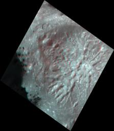 This stereo view, called an anaglyph, of Cerealia Facula Pit and Dome on Ceres was obtained by NASA's Dawn spacecraft from an altitude of about 21 miles (34 kilometers).