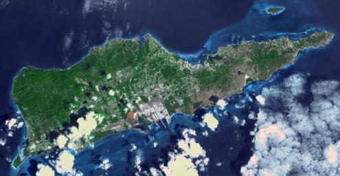 NASA's Terra spacecraft shows Saint Croix, a district of the U.S. Virgin Islands, in the Caribbean Sea.