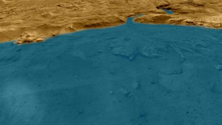 This artist's concept depicts an aerial view of what the Jezero Crater area of Mars may have looked like billions of years ago.