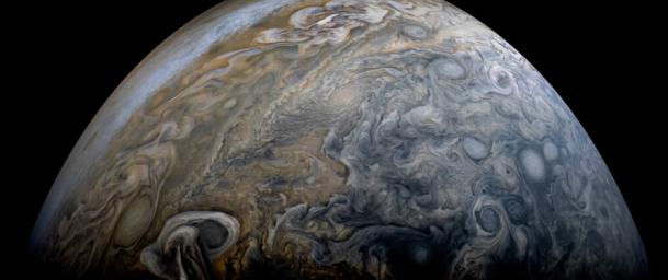 NASA's Juno spacecraft captured this stunning Jovian cloudscape, as the spacecraft performed its 11th close flyby of Jupiter.