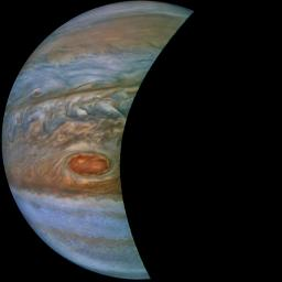 A 'brown barge' in Jupiter's South Equatorial Belt is captured in this color-enhanced image from NASA's Juno spacecraft.