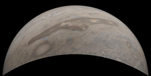 The southern edge of Jupiter's north polar region is captured in this view from NASA's Juno spacecraft.
