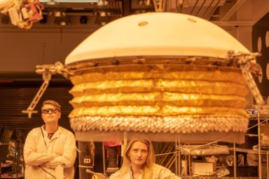 ForeSight, a fully functional, full-size model of NASA's InSight lander, practices deploying a model of the lander's Wind and Thermal Shield. This testing was done at NASA's Jet Propulsion Laboratory in Pasadena, California.