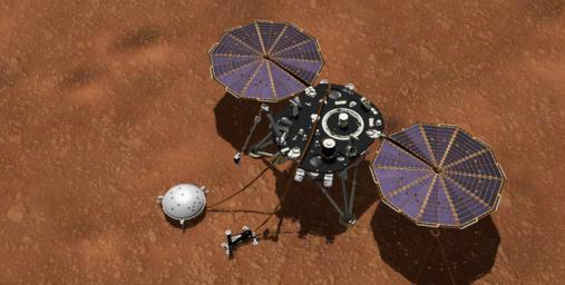 This artist's concept shows NASA's InSight lander with its instruments deployed on the Martian surface. Several of the sensors used for studying Martian weather are visible on its deck.