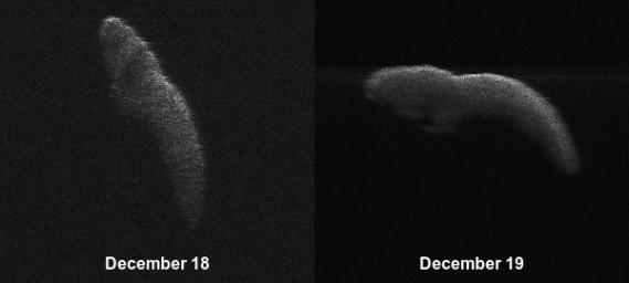These two radar images of near-Earth asteroid 2003 SD220 were obtained on Dec. 18 and 19. The radar images reveal the asteroid is at least one mile (1.6 kilometers) long.