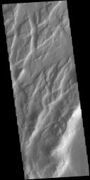 This image from NASA's Mars Odyssey shows Claritas Fossae, a graben filled highland, located between the lava plains of Daedalia Planum and Solis Planum.