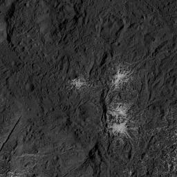 This image of the eastern part of Occator Crater on Ceres was obtained by NASA's Dawn spacecraft on July 24, 2018 from an altitude of about 89 miles (143 kilometers).