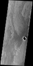 This image from NASA's Mars Odyssey shows a small portion of Daedalia Planum. The lava flows the comprise this large lava plain originated at Arsia Mons, one of the large Tharsis volcanoes.