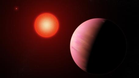 This artist's illustration shows the newfound planet K2-288Bb is slightly smaller than Neptune.