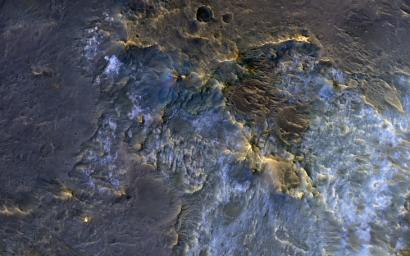 This image acquired on November 30, 2018 by NASA's Mars Reconnaissance Orbiter, shows a complex crater, where we see bedrock in several locations from different depths in the crust.