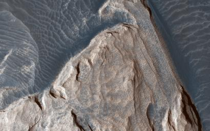 This image acquired on December 5, 2018 by NASA's Mars Reconnaissance Orbiter, shows ripples in the sand which tell us which way the wind was moving and how it was diverted around these rock formations.